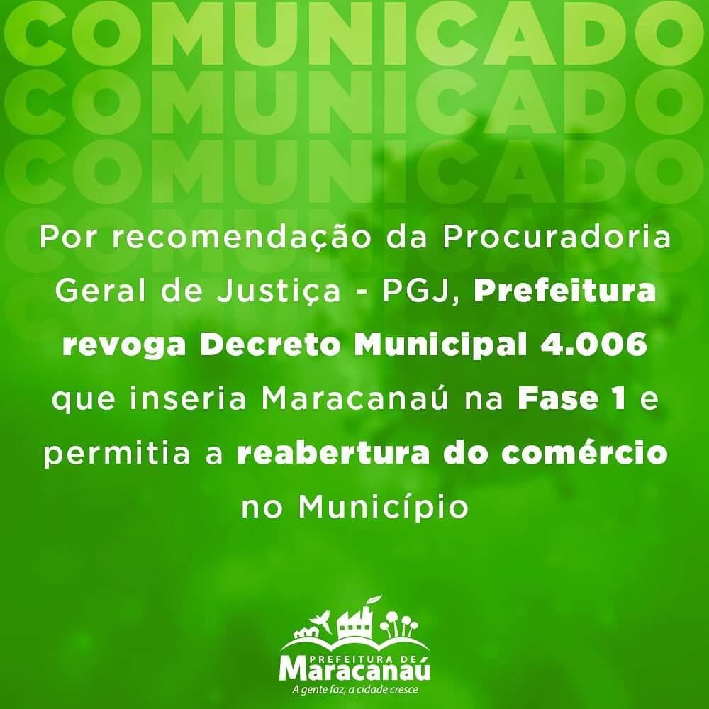 Por recomendação da Procuradoria Geral de Justiça- PGJ, Prefeitura revoga Decreto Municipal 4.006 que inseria Maracanaú na Fase 1 e permitia a reabertura do comércio no Município