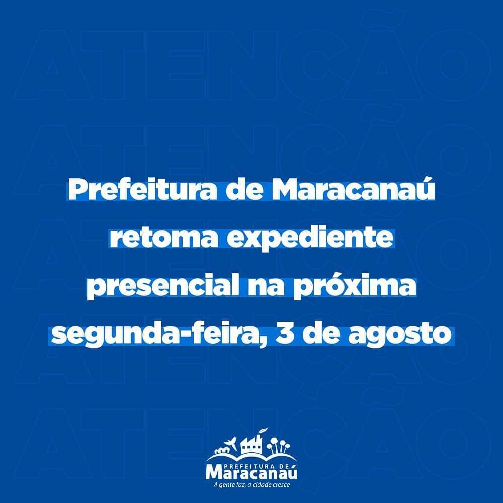 Prefeitura de Maracanaú retoma expediente presencial na próxima segunda-feira, 3 de agosto