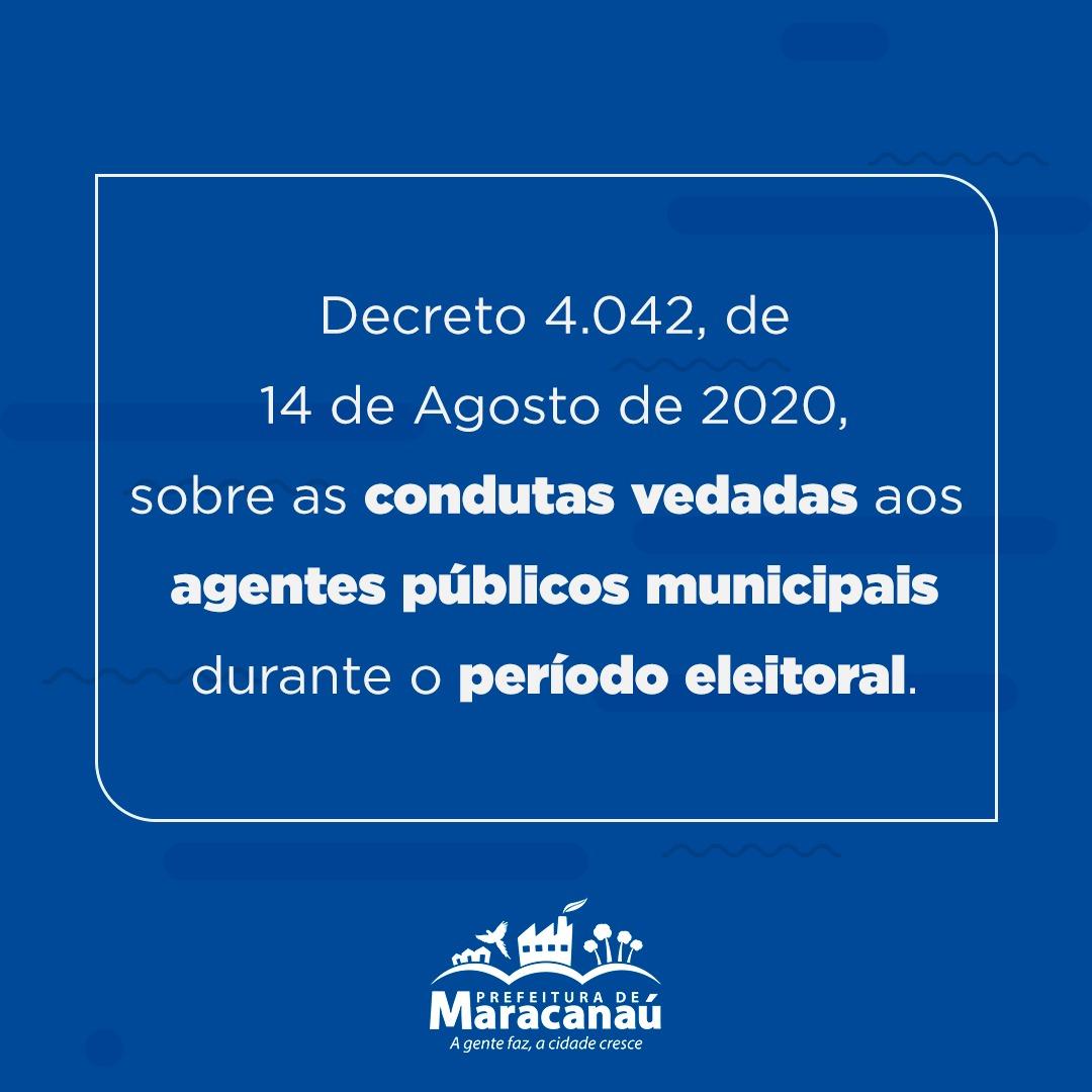 Decreto Municipal 4.042/2020 estabelece condutas vedadas durante a eleição